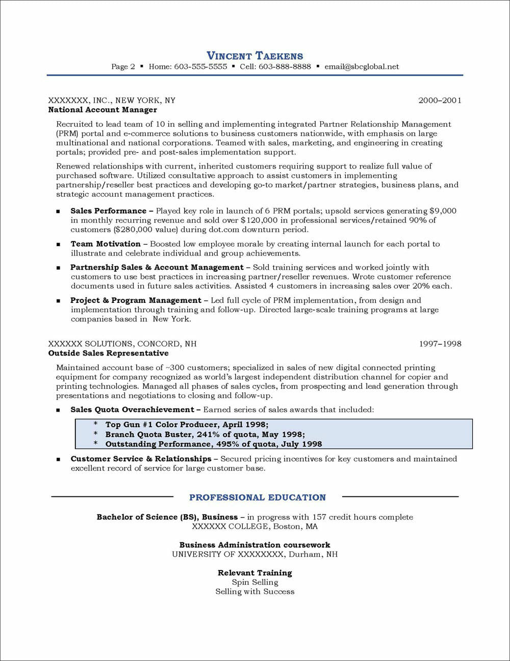 Sales Manager Resume Page 2