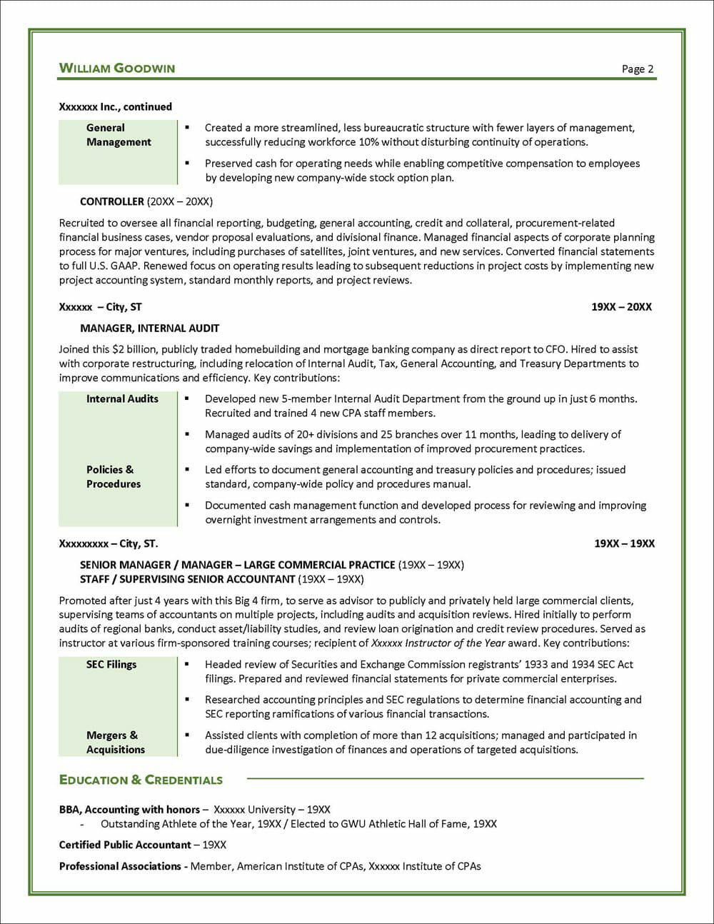Sample CFO Resume Page 2