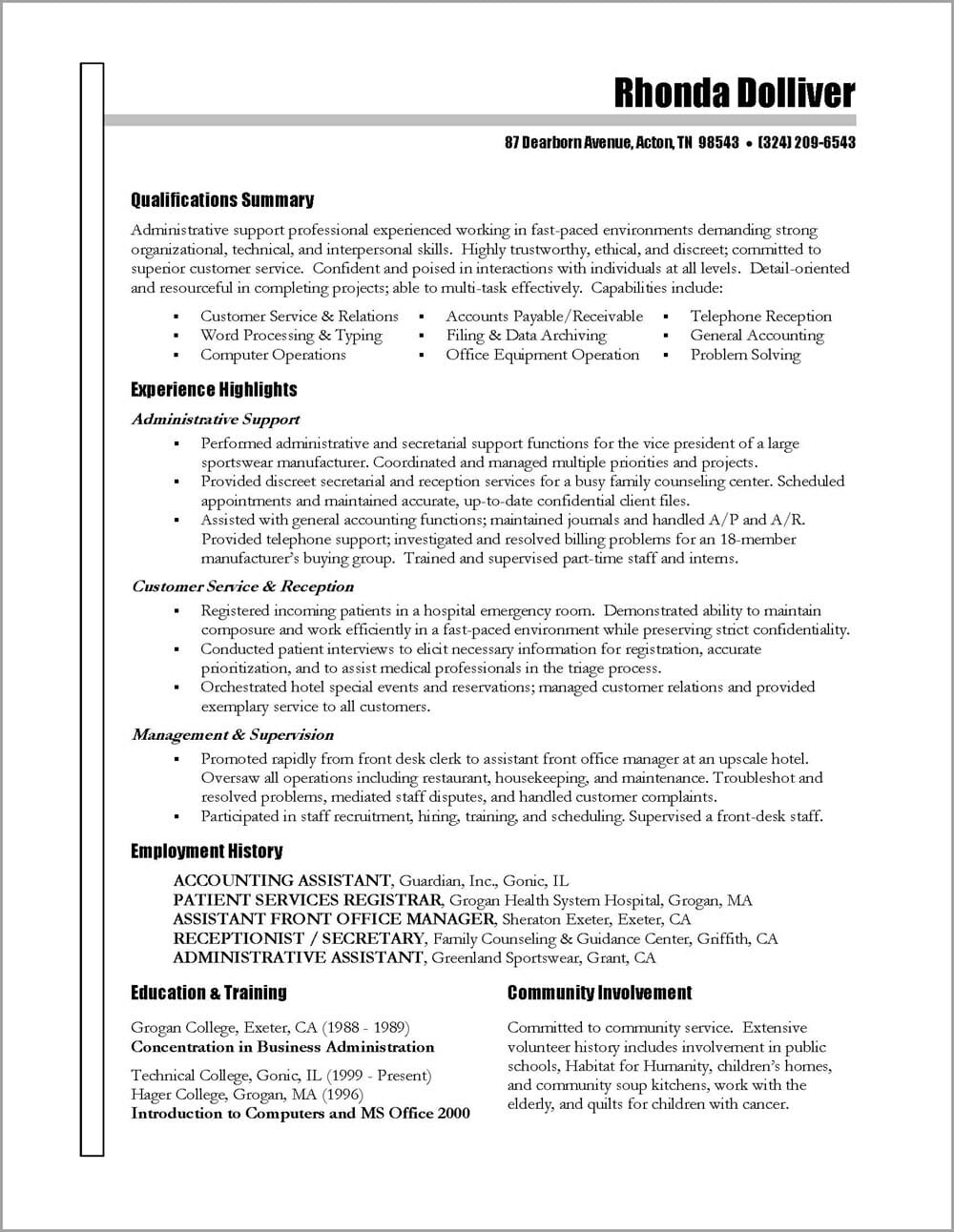 Administrative Assistant Resume Distinctive Career Services