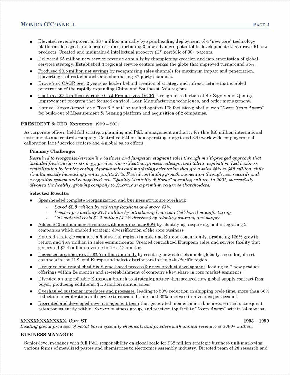 Executive Resume For A President And Ceo