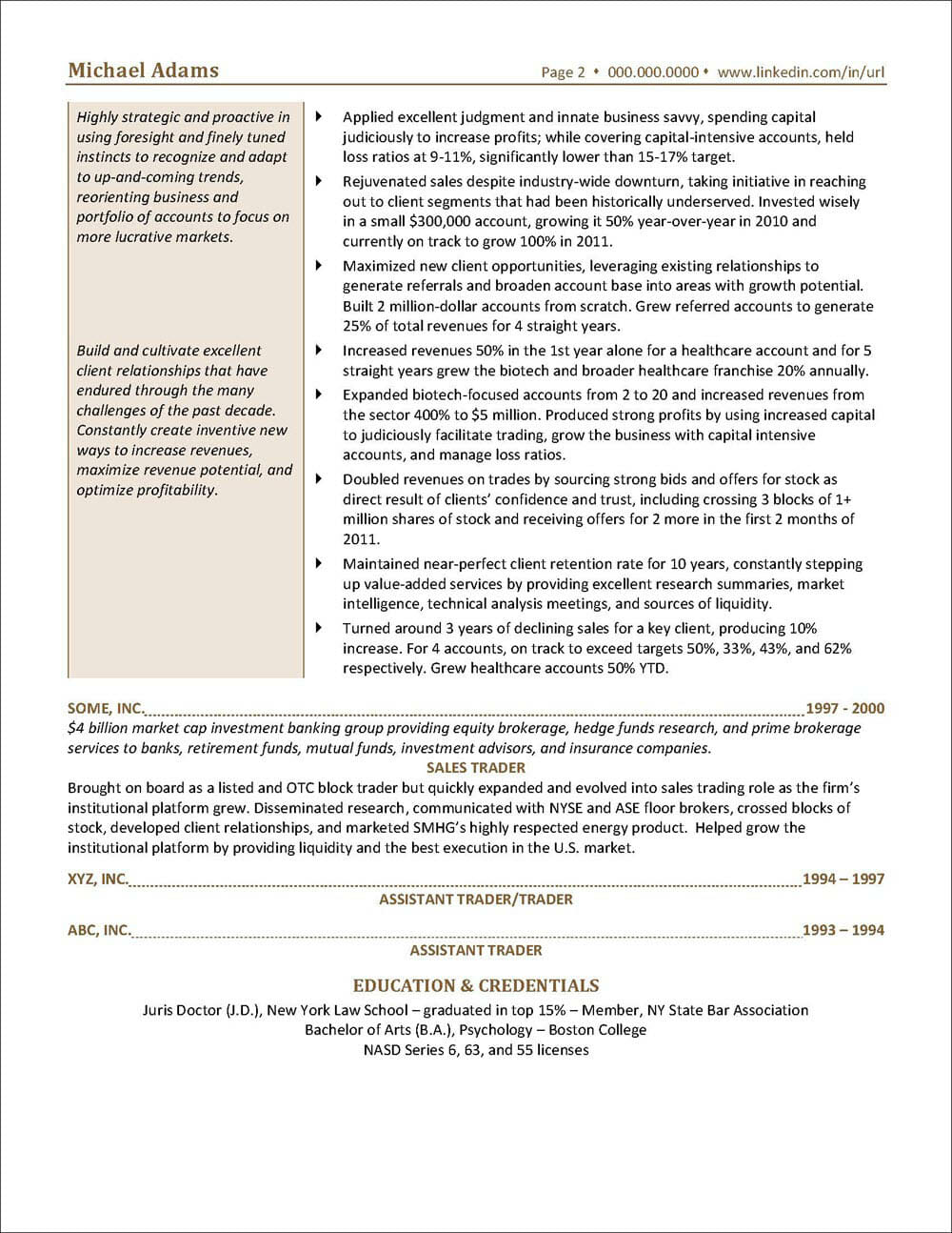 INVESTMENT BANKING Resume Page 2