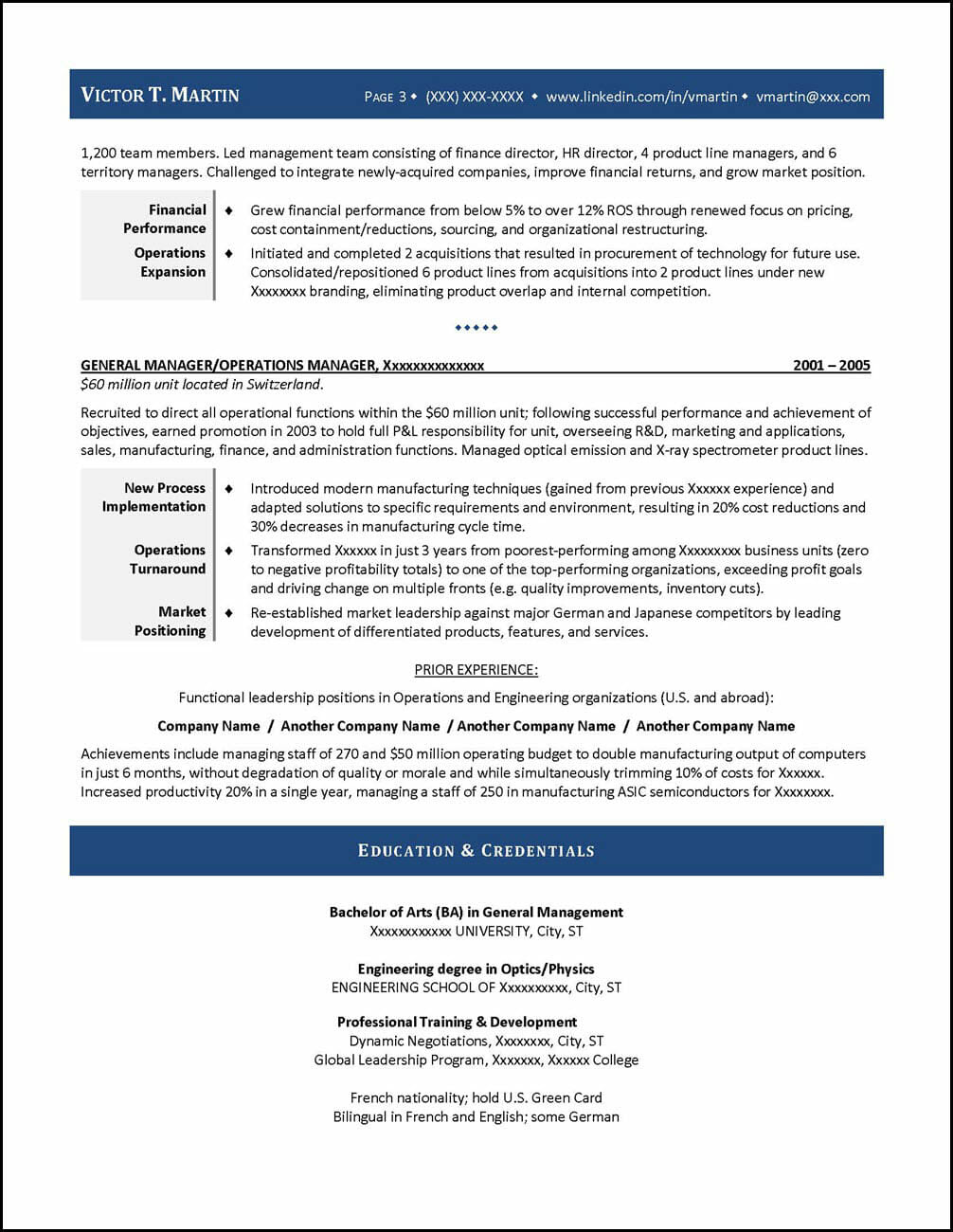 Sample CEO Resume Page 3