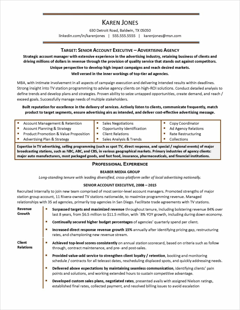 Advertising Agency Resume page 1