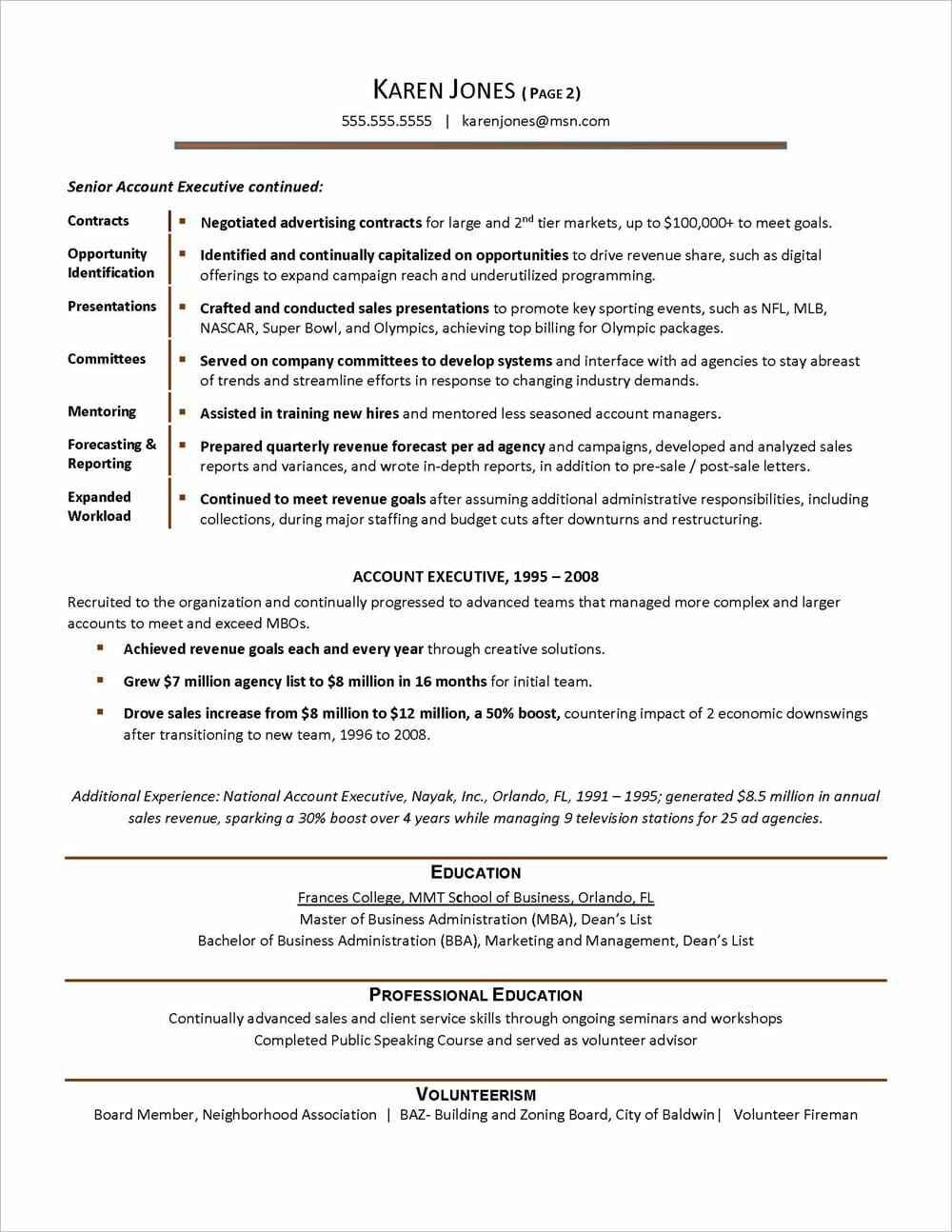 Advertising Agency Resume page 2
