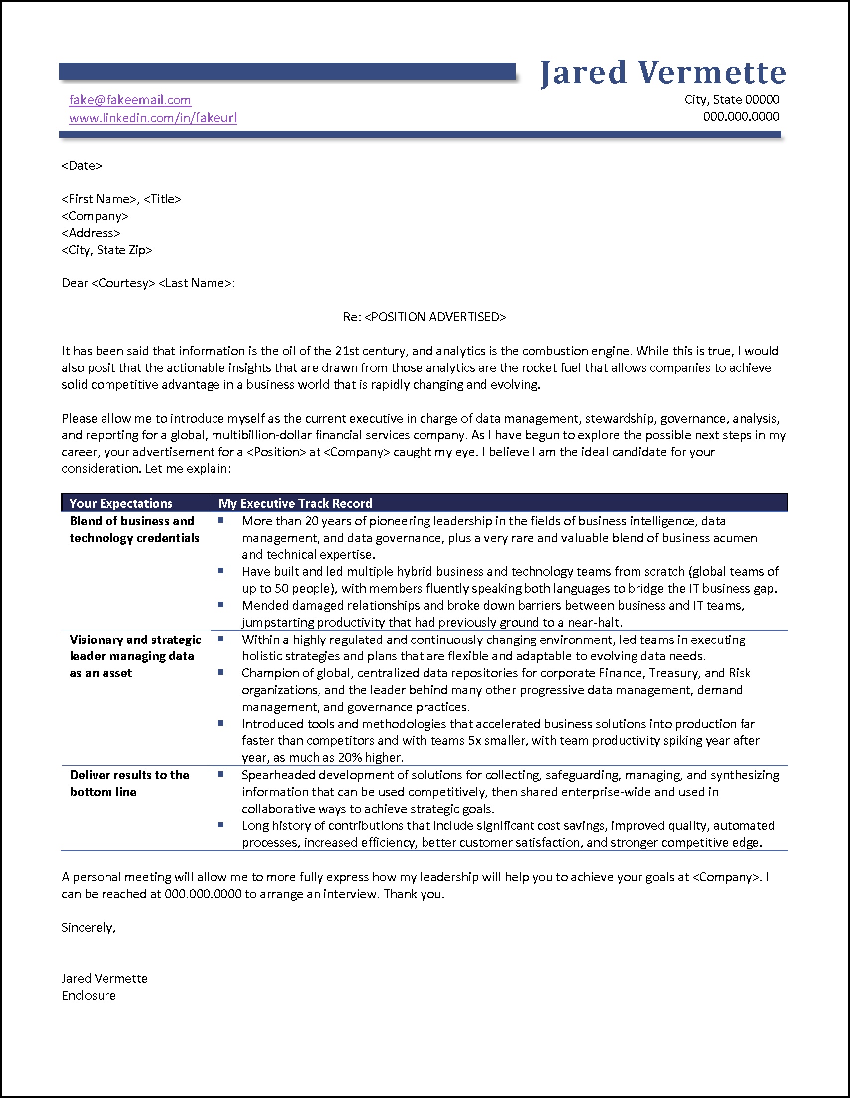 Job Ad Response Cover Letter Example