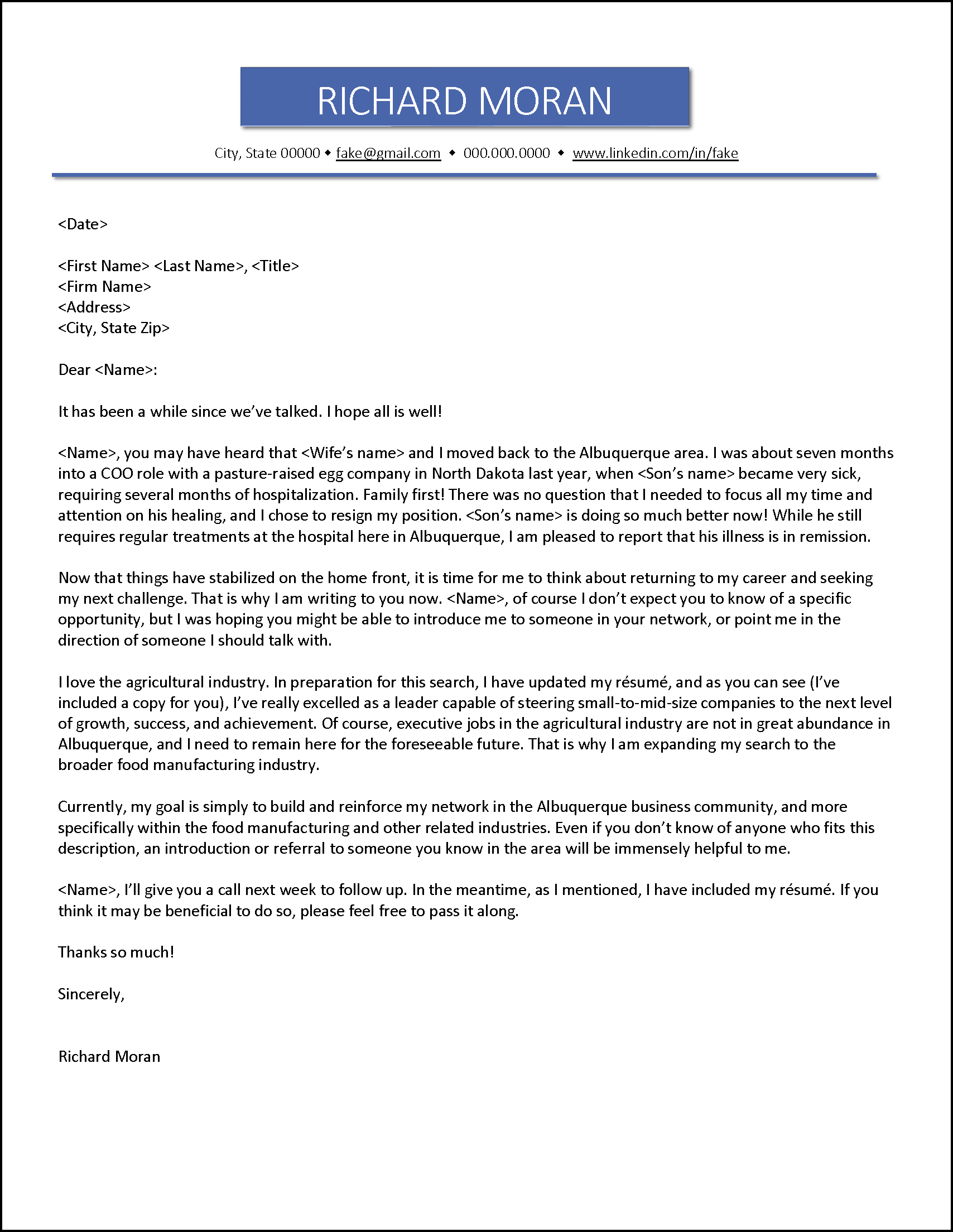 Example Letter for People in Your Network