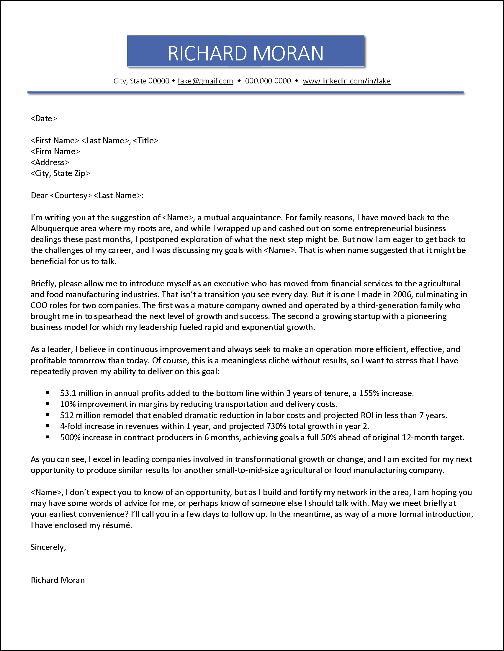 Example Referral Job Search Letter