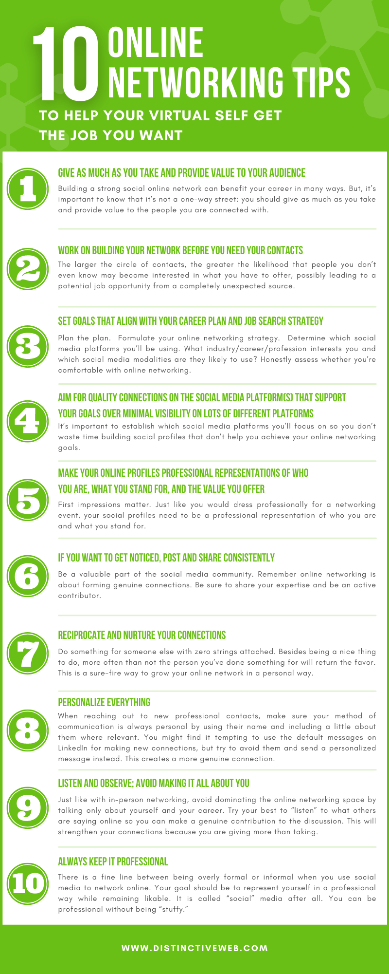 10 Online Networking Tips To Help Your Virtual Self Get The Job You Want Infographic