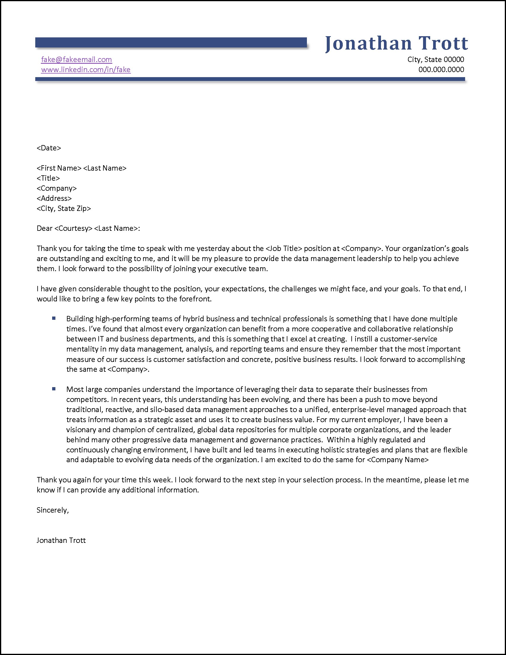 Thank You Letter After Job Interview Example
